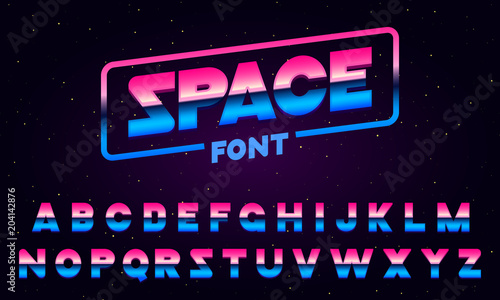 Obraz 80 s purple neon retro font. Futuristic metal chrome letters. Bright Alphabet on dark background. Light Symbols Sign for night show in club. concept of galaxy space. Set of types. Outlined version. - fototapety do salonu
