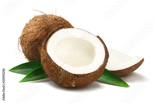 Ripe coconut on white background
