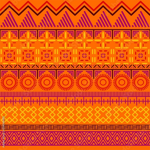 Foto auf AluDibond Boho-Stil Tribal ethnic seamless pattern. Abstract geometric ornament with African motifs. Vector illustration. Perfect for textile print, wallpaper, cloth design, tissue, wrapping paper and fabric design.