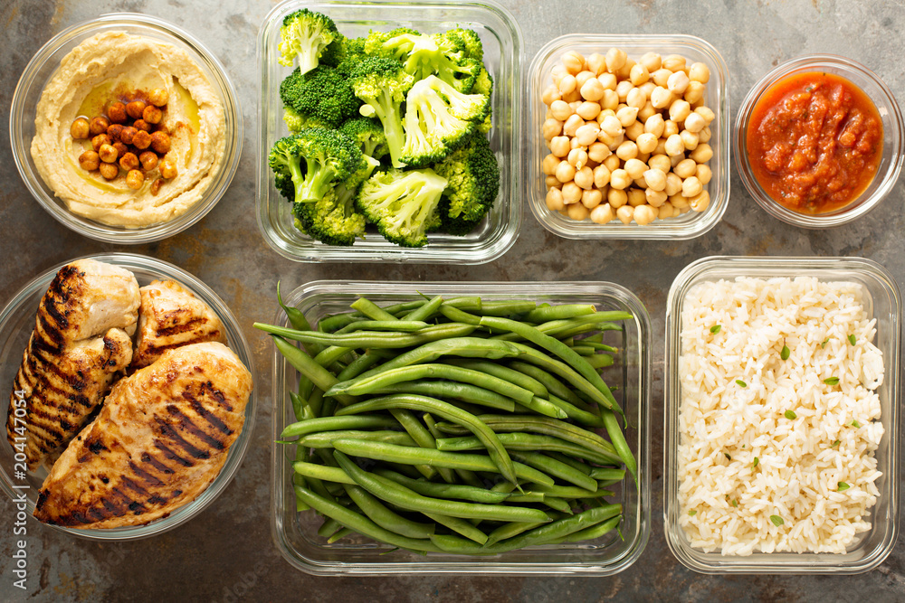 Fototapety, obrazy: Grilled chicken meal prep with cooked rice