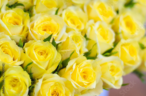 Bouquet Of Fresh Yellow Roses Flowers For Bright Background Buy