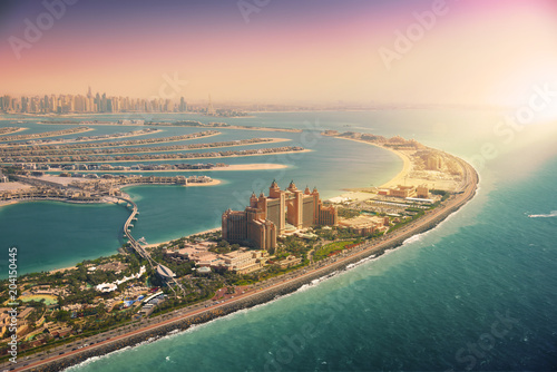 Garden Poster Green blue Palm Island in Dubai, aerial view