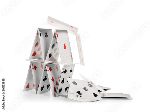 Obraz Falling house of cards isolated with clipping path - fototapety do salonu