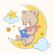 Cute Bear Sits On The Moon And...