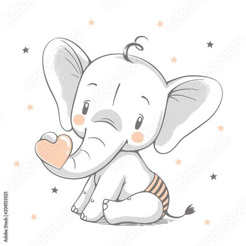 Fototapeta premium Ładny słoń kreskówka ręcznie rysowane ilustracji wektorowych. Może być stosowany do nadruków na koszulkach, projektowania mody dla dzieci, powitania z okazji urodzin baby shower i karty z zaproszeniem.