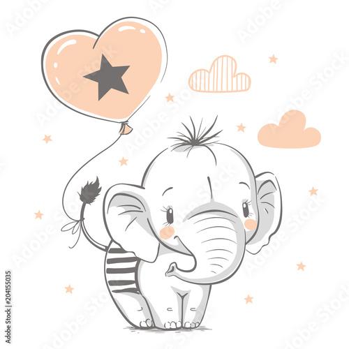 Fototapeta premium Słodki słoń z balonem kreskówka ręcznie rysowane ilustracji wektorowych. Może być stosowany do nadruków na koszulkach, projektowania mody dla dzieci, powitania z okazji urodzin baby shower i karty z zaproszeniem.
