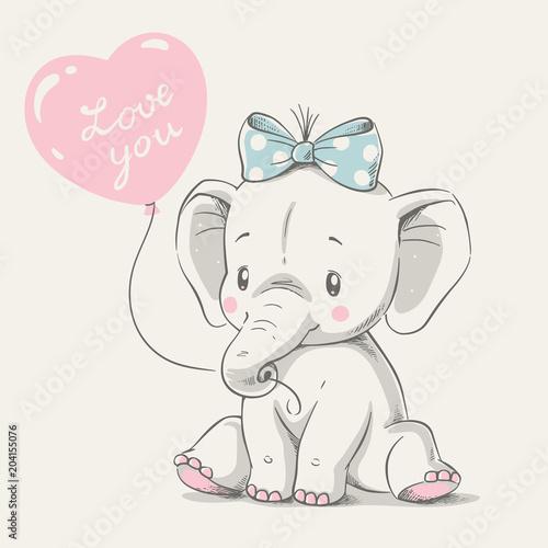 Fototapeta premium Słodki słoń z balonem ręcznie rysowane ilustracji wektorowych. Może być stosowany do nadruku na koszulce, projektowania mody dla dzieci, powitania na baby shower i karty z zaproszeniem.