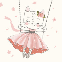 Cute Kitty In The Swing Hand Drawn Vector Illustration. Can Be Used For T-shirt Print, Kids Wear Fashion Design, Baby Shower Celebration, Greeting And Invitation Card.