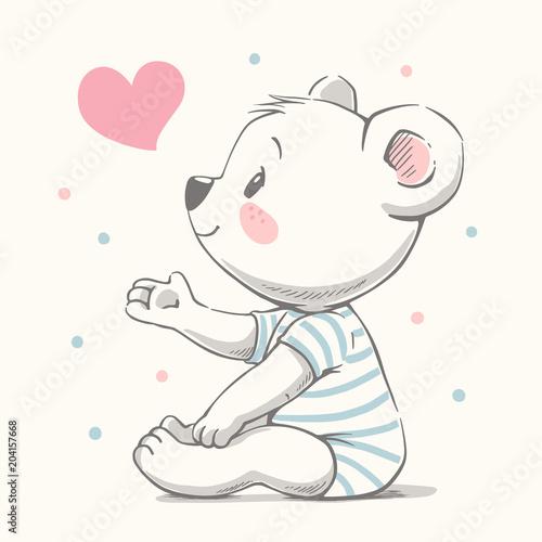 210e6dbdf8c9 Cute bear cartoon hand drawn vector illustration. Can be used for t ...