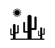 Cactus Icon With Sun