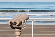 Sightseeing binoculars at an observation point on Fletcher Cove Beach Park in the city of Solana Beach, California in San Diego County.
