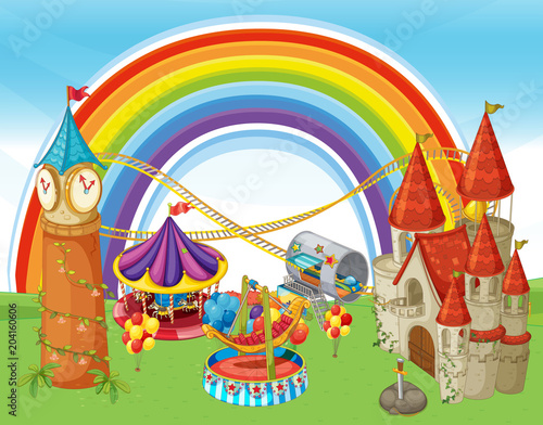 Staande foto Kids An Amusement Park and Rainbow