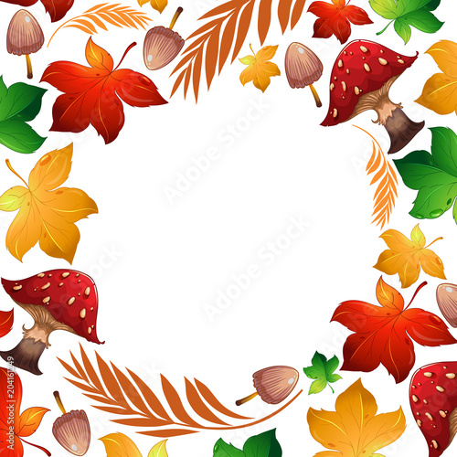 Staande foto Kids Autumn leaf and mushroom Template