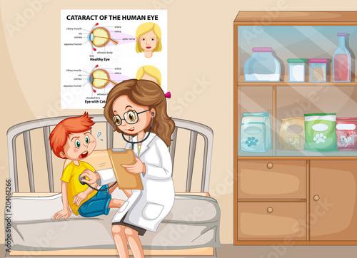 Photo sur Toile Jeunes enfants A Sick Boy With Doctor