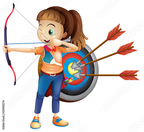 Foto op Plexiglas Kids An Archer Girl with White Background