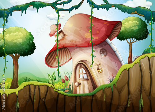 Poster Kids Mushroom House in the Rainforest