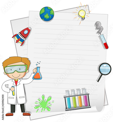 Staande foto Kids Male Scientist with Note Template