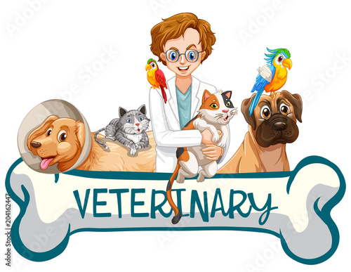Staande foto Kids A Banner of Veterinary Clinic