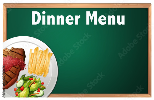 Poster Kids A Dinner Menu on Chalk Board Template