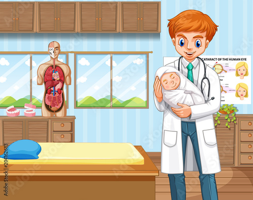 Foto op Plexiglas Kids Doctor and baby in hospital