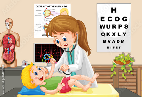 Foto op Plexiglas Kids Doctor Check up a Baby