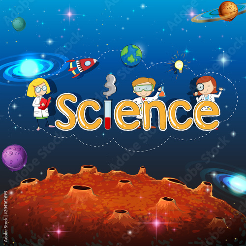 Foto op Plexiglas Kids Science Banner on Planet Template