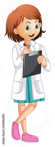 Foto op Plexiglas Kids A Female Doctor Writing Report