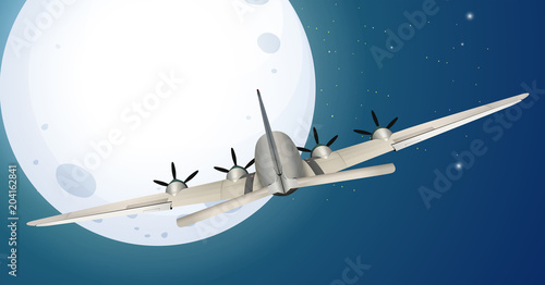 Foto op Plexiglas Kids Airplane Flying over the Moon