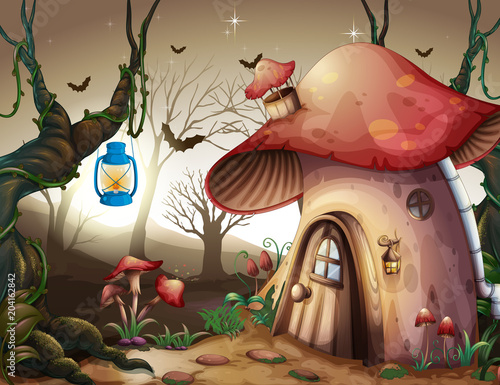 Foto op Plexiglas Kids Mushroom House in the Dark Forest