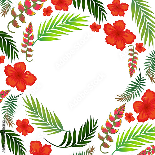 Staande foto Kids Beautiful Tropical Summer Flower Template