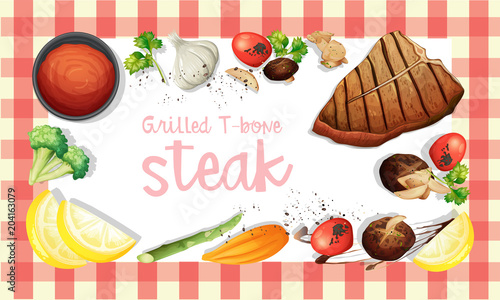 Foto op Plexiglas Kids Grilled T-Bone Stake Element Template