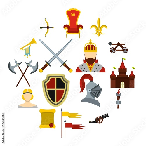 Knight icons set, flat style Canvas Print