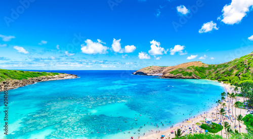 Hanauma Bay from distance in Hawaii