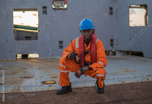 rating Seaman AB or Bosun on deck of vessel or ship