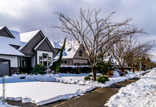 Photo Snow covered Suburbia in the Township of Langley , British Columbia, Canada
