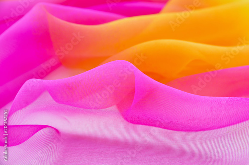 Obraz na plátně  Texture chiffon fabric pink and yellow  color for backgrounds