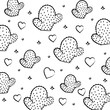 pattern of hearts and cactus, sketch design. vector illustration