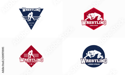set of wrestling badge logo template vector wrestling sticker logo