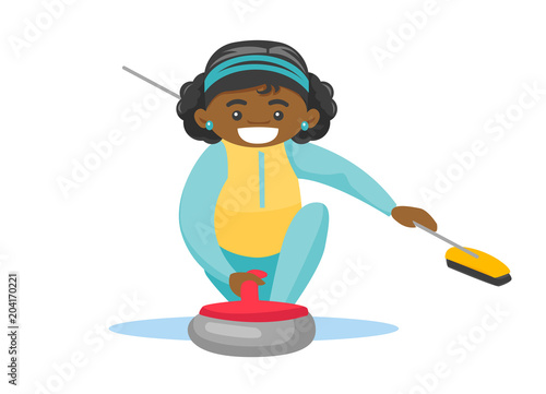 Black sportswoman playing curling on the ice rink Fototapeta