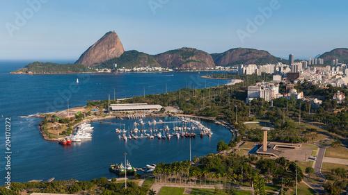 View of Marina da Gloria With Ships and Yachts in Guanabara Bay, and the Sugarloaf Mountain in the Horizon, in Rio de Janeiro, Brazil