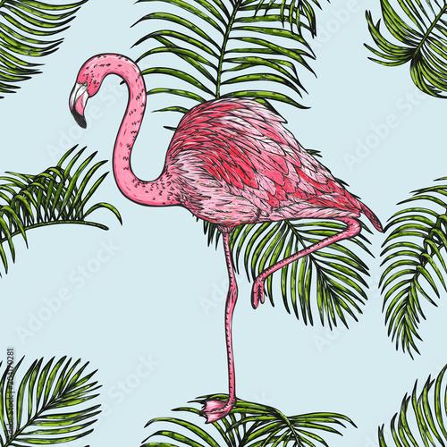 lisc-palmy-z-wzorem-flamingo-recznie-rysunek-maxstera