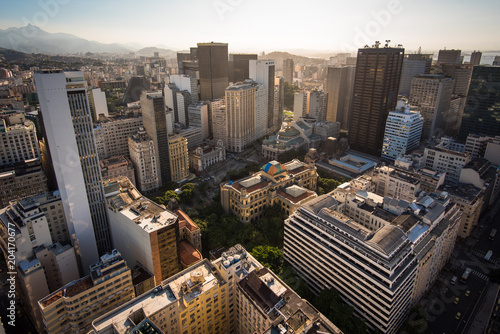 Aerial View of Rio de Janeiro Downtown Buildings by Sunset