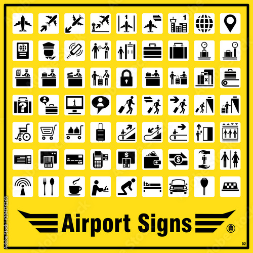 Set Of Airport Signs And Symbols For Standards Using To Indicate