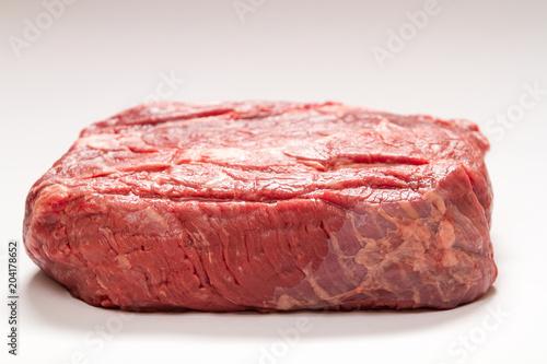 Fotografie, Obraz  Raw Beef Roast On White Background Medium Shot