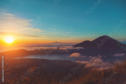 Foto op Aluminium Asia land Morning view of Mount Gunung Agung volcano from Mt. Batur, Bali, Indonesia.