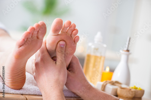 Foot massage in medical spa