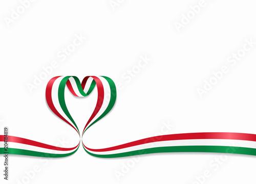 Fotomural Hungarian flag heart-shaped ribbon. Vector illustration.