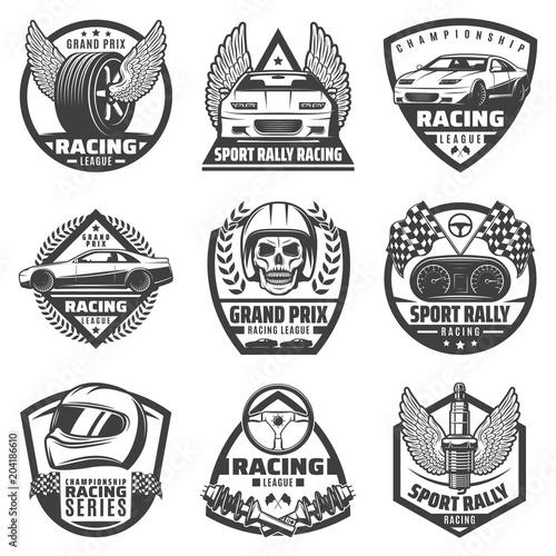 Fotografía  Vintage Monochrome Car Racing Labels Set