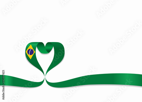 Fotografie, Obraz  Brazilian flag heart-shaped ribbon. Vector illustration.
