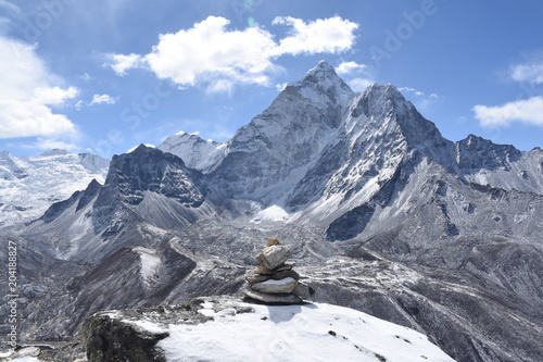 Photo  Cairn in front of Ama Dablam, Nepal